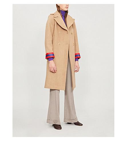 SANDRO 双排扣条纹袖口羊毛混纺外套 (骆驼
