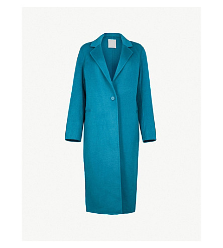 SANDRO Single breasted wool and cotton-blend coat (Petrole