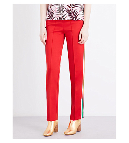 SANDRO Striped neoprene trousers (Red