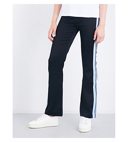 SANDRO Striped-panel jersey jogging bottoms (Black