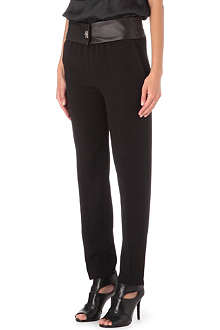 SANDRO Parfait leather-waist trousers