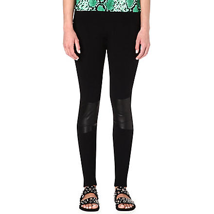SANDRO Parfum perforated leather leggings (Black