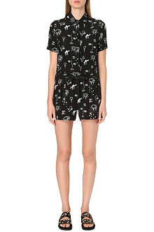 SANDRO Palace scribble-print silk playsuit