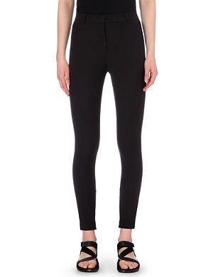 SANDRO Zipped-cuff stretch-crepe leggings