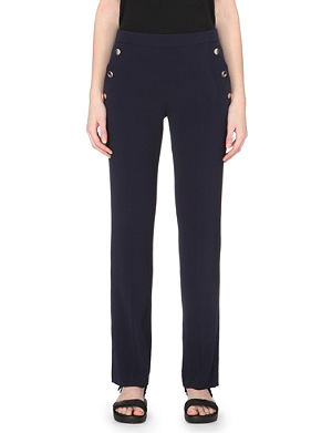 SANDRO Button-detail crepe trousers