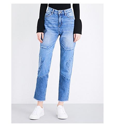 SANDRO Star-stitched straight high-rise jeans (Blue vintage - denim