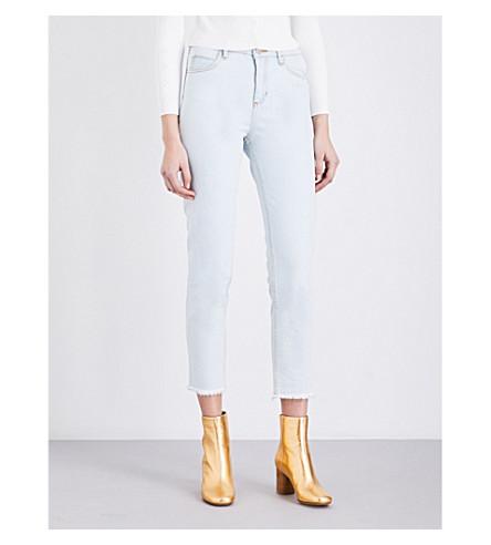 SANDRO Frayed-hem skinny cropped mid-rise jeans (Blue+vintage+-+denim