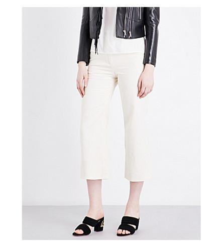 SANDRO Flared wide-leg high-rise jeans (Ecru