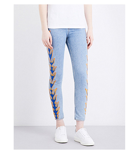 SANDRO Flame-embroidery high-rise skinny jeans (Blue vintage - denim