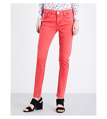 SANDRO Skinny mid-rise jeans (Red