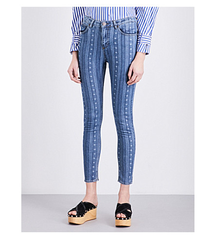 SANDRO Star-print skinny mid-rise jeans (Blue
