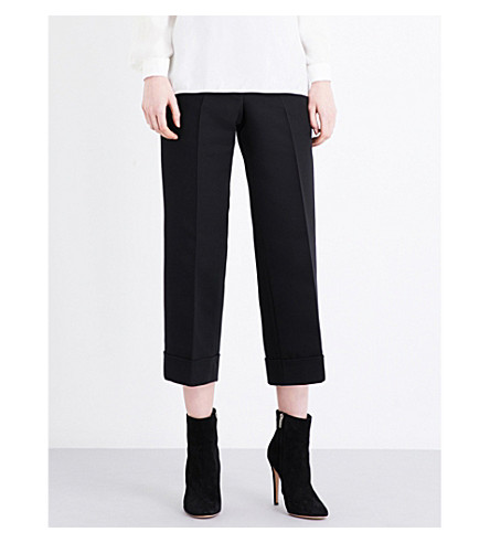 SANDRO Cropped high-rise stretch-woven trousers (Black