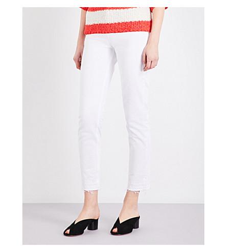 SANDRO Released-hem straight high-rise jeans (White