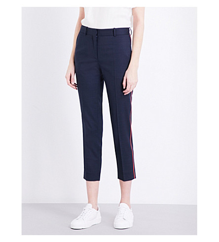 SANDRO Skinny cropped twill trousers (Navy+blue