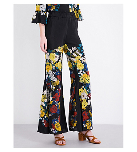 SANDRO Floral-print silk-crepe trousers (Black