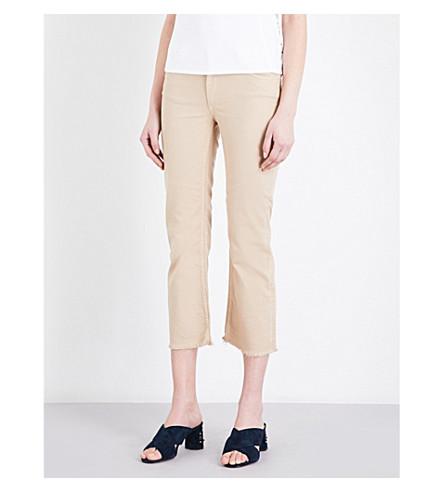 SANDRO Frayed-hem flared mid-rise jeans (Sand