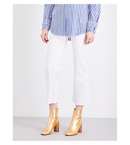 SANDRO Frayed-hem flared mid-rise jeans (White