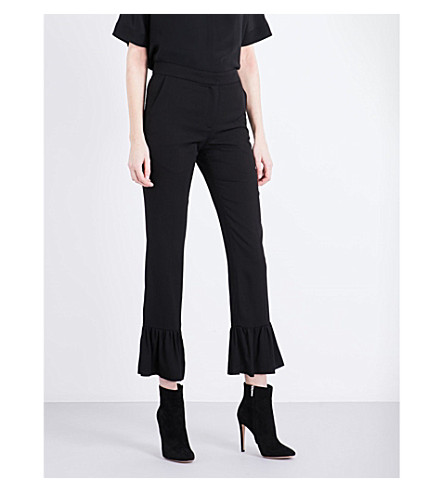 SANDRO Frilled-hem cropped pants (Black