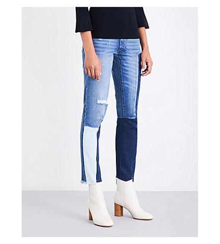 SANDRO Distressed straight mid-rise jeans (Blue+vintage+-+denim
