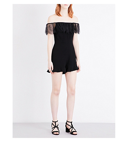 SANDRO Lace-trimmed crepe playsuit (Black