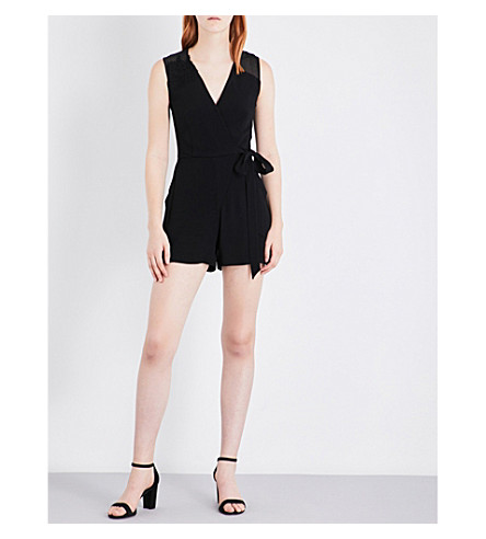 SANDRO Wrap-style crepe playsuit (Black