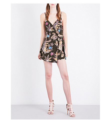 SANDRO Wrap-style silk-crepe playsuit (Multi-color
