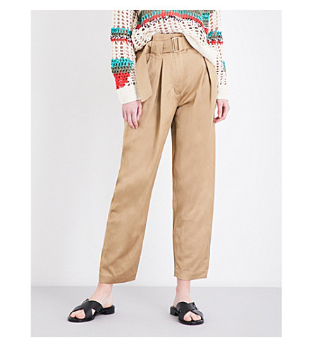 SANDRO Wide-leg cropped linen trousers (Camel