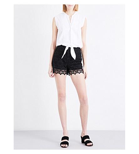 SANDRO Sleeveless scalopped-hem cotton and lace playsuit (Black