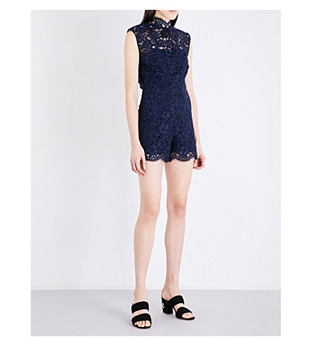 SANDRO Floral-embroidered lace playsuit (Navy+blue
