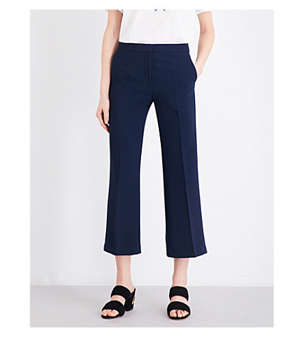 SANDRO Cropped crepe pants (Navy+blue