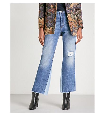 SANDRO Distressed high-rise wide jeans (Blue+vintage+-+denim