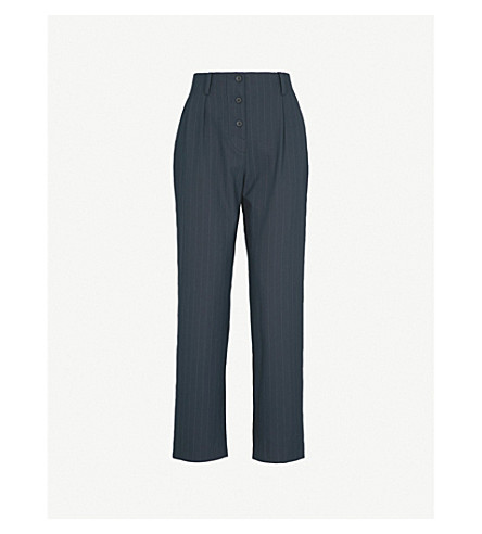 SANDRO Pinstriped straight woven trousers (Navy+blue