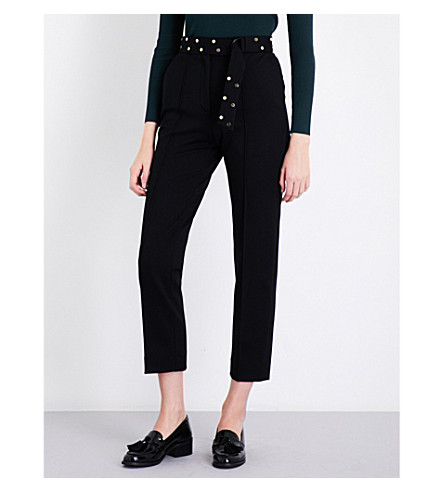 SANDRO D-ring belt high-rise woven trousers (Black