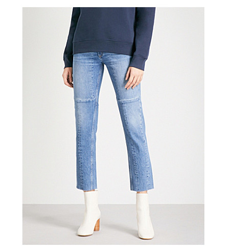 SANDRO Straight cropped high-rise jeans (Blue+vintage+-+denim