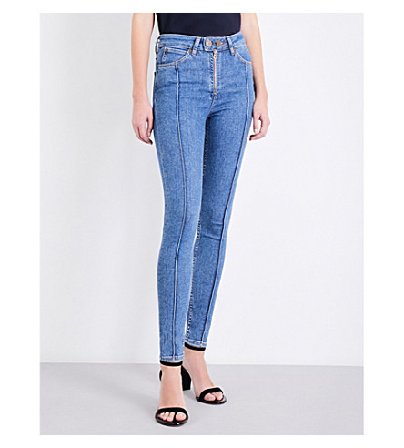 SANDRO Visible-seam skinny high-rise jeans (Blue+vintage+-+denim