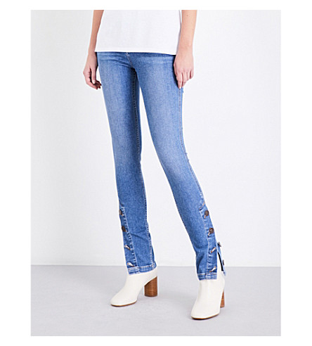 SANDRO Button-hem skinny high-rise jeans (Blue+vintage+-+denim