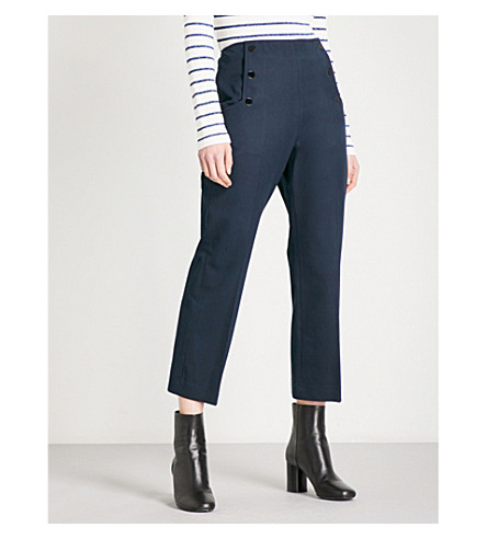 SANDRO Straight cropped mid-rise twill trousers (Navy+blue