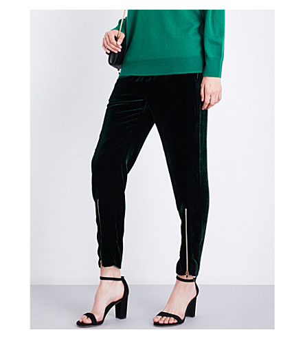 SANDRO High-rise straight-leg velvet trousers (Forest+green