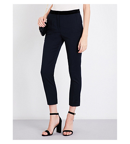 SANDRO High-rise skinny twill trousers (Navy+blue