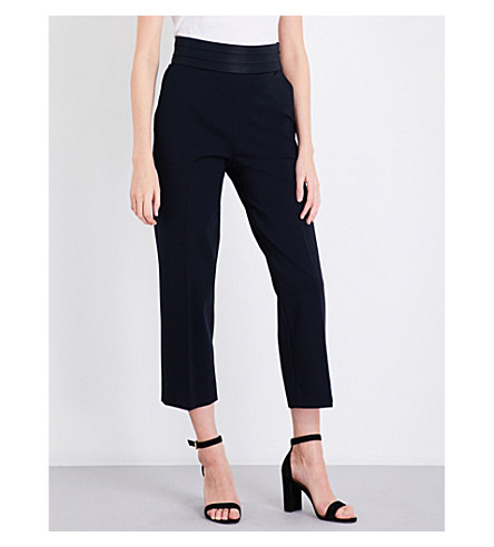 SANDRO Pleated-waistband cropped stretch-jersey trousers (Navy+blue