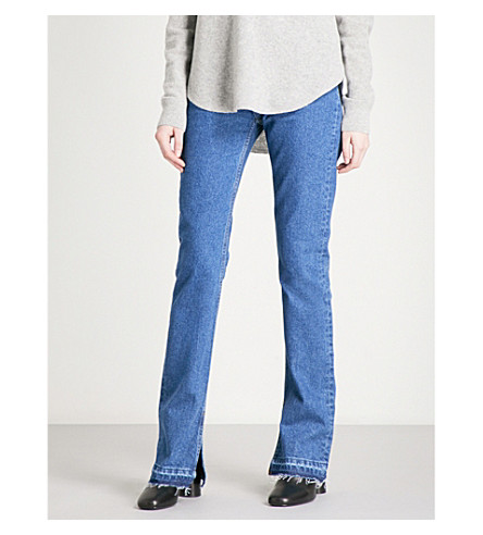 SANDRO Split-cuff flared high-rise jeans (Blue+vintage+-+denim