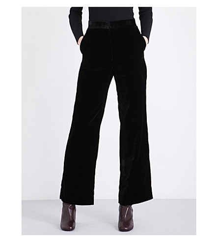 SANDRO Wide-leg velvet trousers (Black