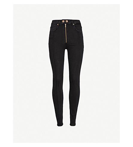 SANDRO Seam-detailed skinny high-rise jeans (Black