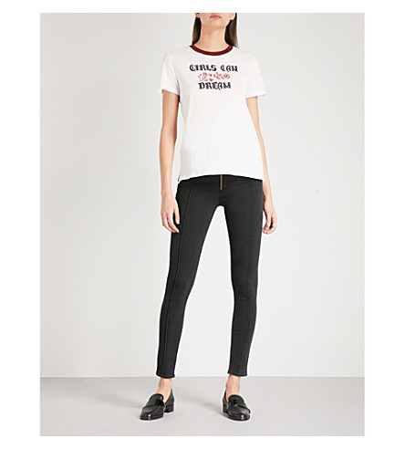 SANDRO Seam-detailed skinny high-rise jeans (Black