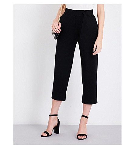 SANDRO High-rise cropped stretch-jersey trousers (Black