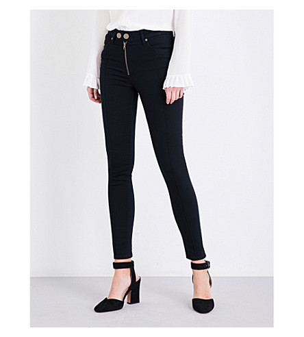 SANDRO Visible-seam skinny high-rise jeans (Black