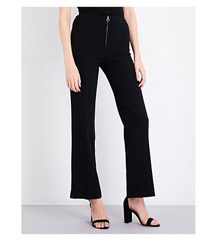 SANDRO High-rise wide-leg stretch-jersey trousers (Black