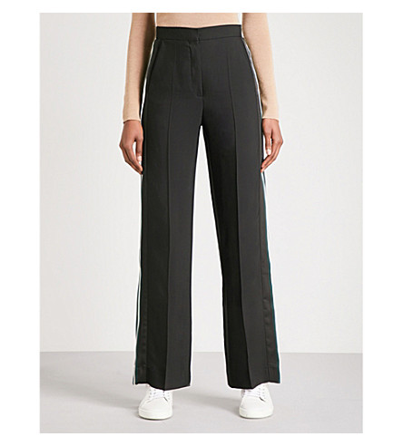 SANDRO Striped-sides satin trousers (Black