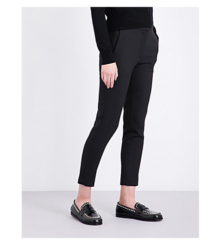 SANDRO Skinny cropped twill trousers (Black