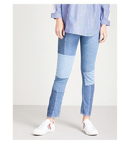 SANDRO Patchwork-detail skinny high-rise jeans (Blue+vintage+-+denim